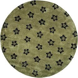 Safavieh Handmade Soho Leaves Sage New Zealand Wool Rug (6' Round)