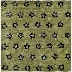 Safavieh Handmade Soho Leaves Sage New Zealand Wool Rug (6' Square)