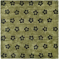 Safavieh Handmade Soho Leaves Sage New Zealand Wool Rug - 7'6 x 9'6