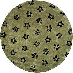 Safavieh Handmade Soho Leaves Sage New Zealand Wool Rug (8' Round)