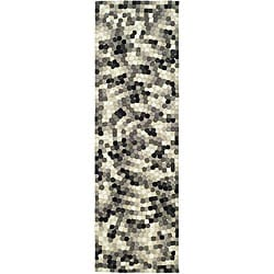 Safavieh Handmade Soho Mosaic Modern Abstract Black Wool Runner Rug (2' 6 x 12')