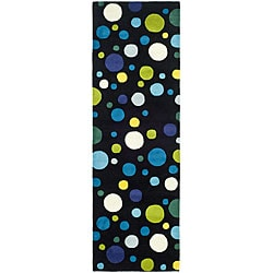 Safavieh Handmade Bubblegum Black/ Multi N. Z. Wool Runner (2'6 x 12')