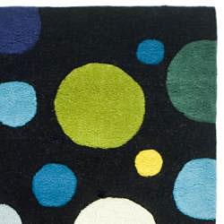 Safavieh Handmade Soho Bubblegum Black/ Multi N. Z. Wool Runner (2'6 x 8') - Thumbnail 1