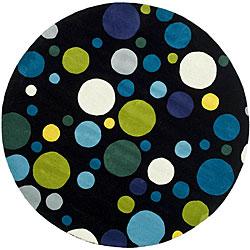 Safavieh Handmade Soho Bubblegum Black/ Multi N. Z. Wool Rug (6' Round)