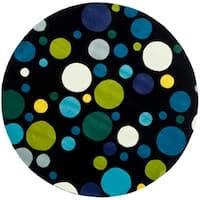 Safavieh Handmade Soho Bubblegum Black/ Multi N. Z. Wool Rug - 6' x 6' Round