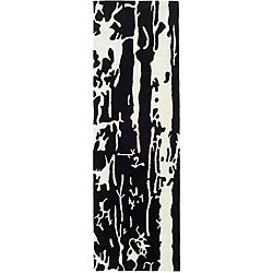 Safavieh Handmade Soho Deco Black/ White N. Z. Wool Runner (2'6 x 12')