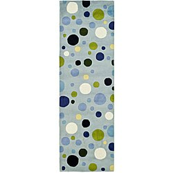 Safavieh Handmade Bubblegum Light Blue/ Multi N. Z. Wool Runner (2'6 x 8')