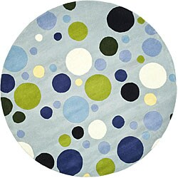Safavieh Handmade Bubblegum Light Blue/ Multi N. Z. Wool Rug (6' Round)