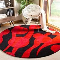 Safavieh Handmade Soho Flora Black/ Red New Zealand Wool Rug - 6' x 6' Round