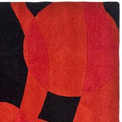 Safavieh Handmade Soho Flora Black/ Red New Zealand Wool Rug (6' Square) - Thumbnail 1
