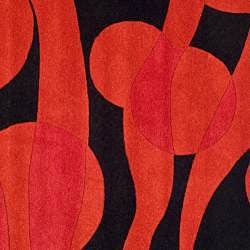 Safavieh Handmade Soho Flora Black/ Red New Zealand Wool Rug (6' Square) - Thumbnail 2