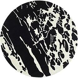 Safavieh Handmade Soho Deco Black/ White New Zealand Wool Rug (6' Round)