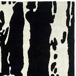 Safavieh Handmade Soho Modern Abstract Black/ White Wool Rug (8' x 8' Square) - Thumbnail 1