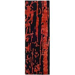 Safavieh Handmade Soho Deco Black/ Red New Zealand Wool Runner (2'6 x 12')