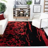 Safavieh Handmade Soho Modern Abstract Black/ Red Wool Rug - 8' x 8' Round
