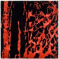 Safavieh Handmade Soho Modern Abstract Black/ Red Wool Rug - 8' x 8' Square