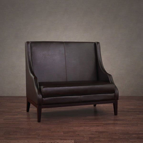 Lummi Dark Brown Leather Highback Loveseat High Back Loveseat E79