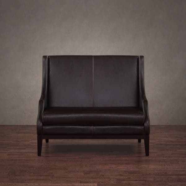 Peachy Shop Lummi Dark Brown Leather High Back Loveseat Free Gmtry Best Dining Table And Chair Ideas Images Gmtryco