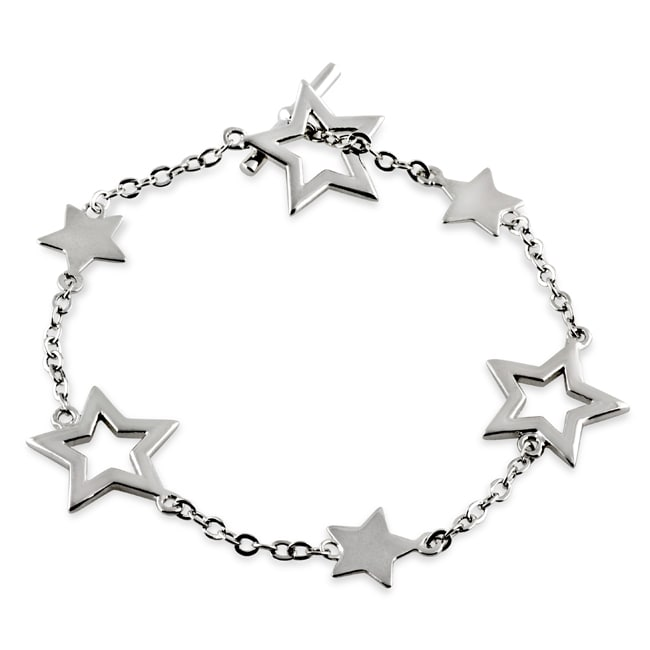 Journee Collection  Sterling Silver 7-inch Star Toggle Bracelet