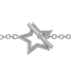 Journee Collection  Sterling Silver 7-inch Star Toggle Bracelet - Thumbnail 1