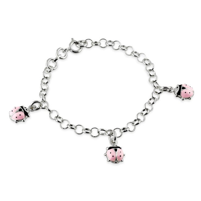 d30b6fce54ebe Journee Collection Sterling Silver Child's Pink Lady Bug Charm Bracelet