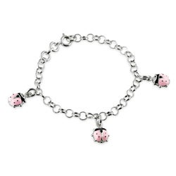 Journee Collection Sterling Silver Child's Pink Lady Bug Charm Bracelet