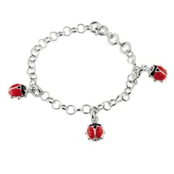 Journee Collection Sterling Silver Child's Red Lady Bug Charm Bracelet