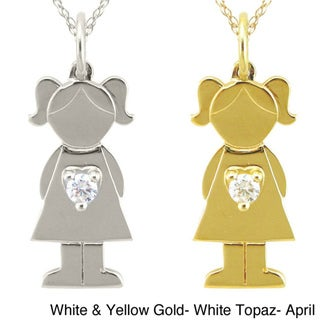 10k Gold Birthstone 'Little Girl' Necklace