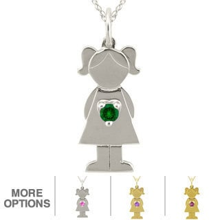 10k Gold Birthstone 'Little Girl' Necklace