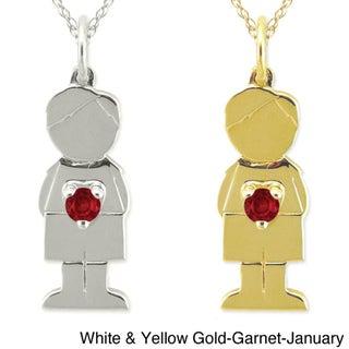 10k Gold Birthstone 'Little Boy' Designer Necklace