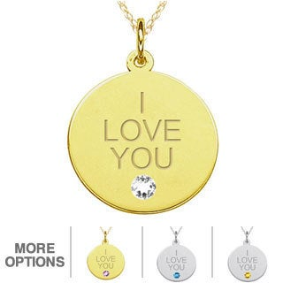 10k Gold Gemstone Engraved 'I LOVE YOU' Necklace