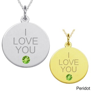 10k Gold Gemstone Engraved 'I LOVE YOU' Necklace