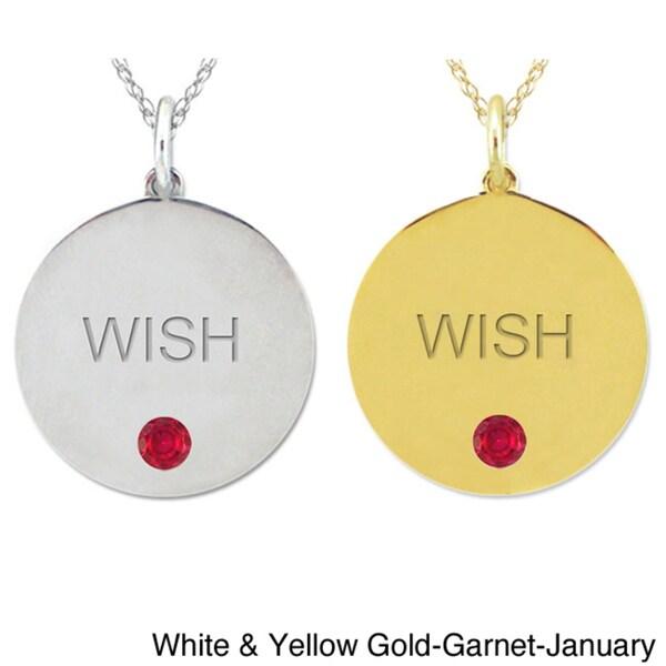 10k Gold Birthstone Engraved 'WISH' Necklace