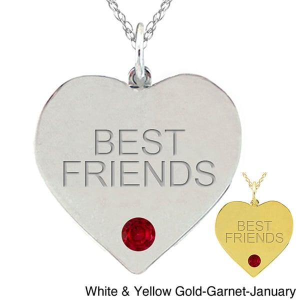 10k Gold Birthstone 'BEST FRIENDS' Heart Necklace