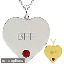 10k Gold Birthstone Engraved 'BFF' Necklace