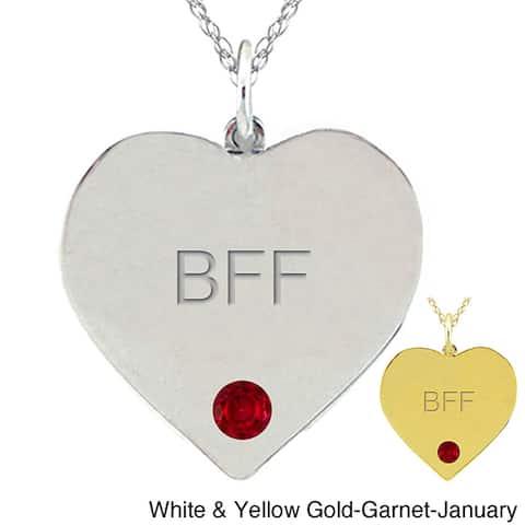10k Gold Birthstone Engraved 'BFF' Necklace