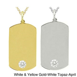 10k Gold Birthstone Dog Tag Necklace