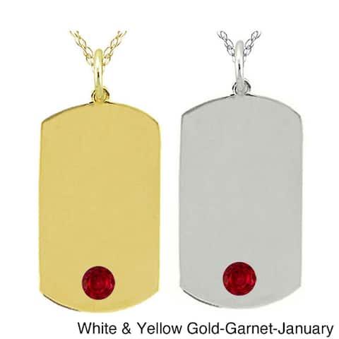 10k Gold Birthstone Dog Tag Necklace