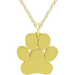 10k Gold Petite Paw Print Designer Necklace - Thumbnail 1