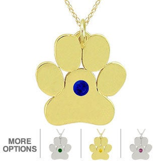 10k Gold Birthstone Paw or Bone Designer Necklace
