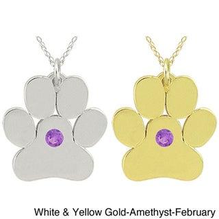 10k Gold Birthstone Paw or Bone Designer Necklace