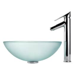Kraus Bathroom Combo SetFrosted Glass Vessel Sink and Decus Faucet - Thumbnail 2