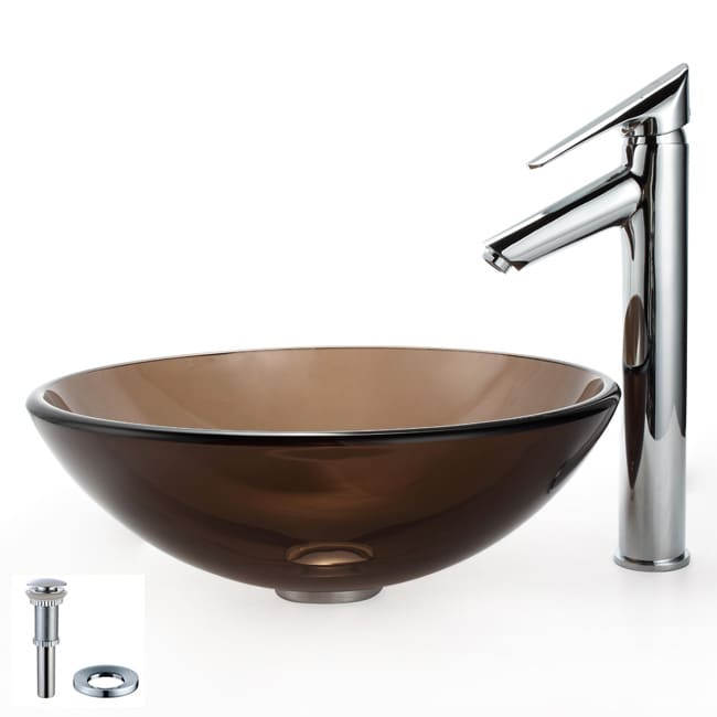 Kraus Bathroom Combo Set Clear Brown Glass Vessel Sink/ Decus Faucet ...
