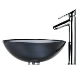 Kraus Bathroom Combo Set Black Vessel Sink and Decus Faucet - Thumbnail 2