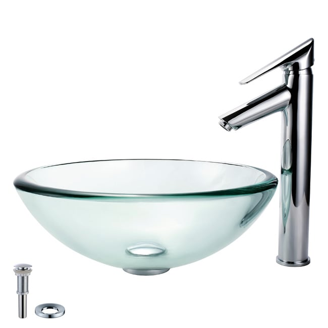 Kraus Bathroom Combo Set Glass Vessel Sink and Decus Faucet - Free ...