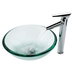 Kraus Bathroom Combo Set Glass Vessel Sink and Decus Faucet - Thumbnail 1