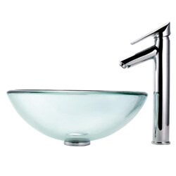 Kraus Bathroom Combo Set Glass Vessel Sink and Decus Faucet - Thumbnail 2