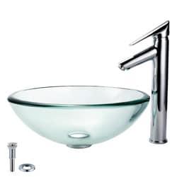 Kraus Bathroom Combo Set Glass Vessel Sink and Decus Faucet