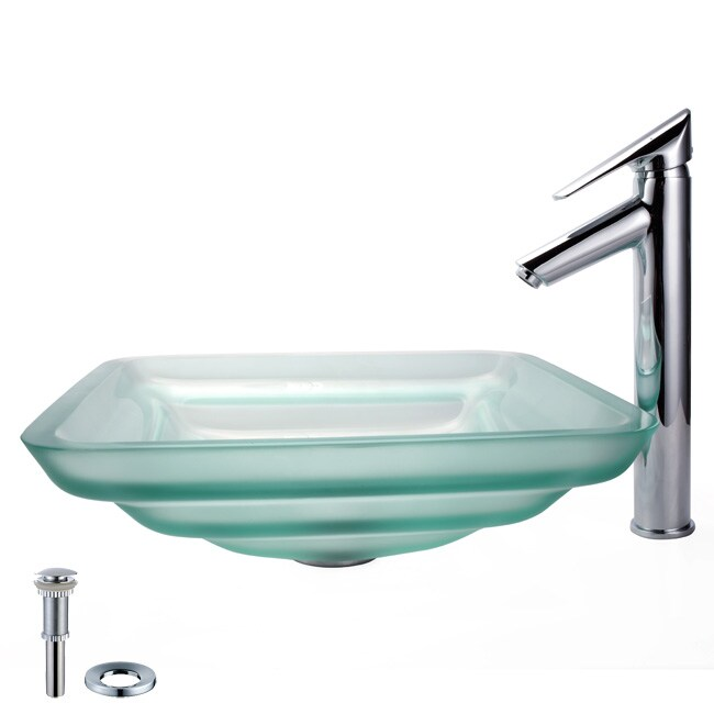 Kraus Oceania Frosted Sink and Decus Bathroom Faucet