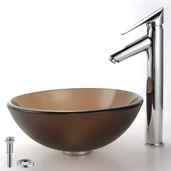 Kraus Bathroom Combo Set Frosted Brown Glass Sink and Decus Faucet